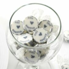 SILVER JUST MARRIED ROCK SWEETS WEDDING FAVOURS WRAPPED x 50 (Approx)