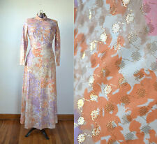 TRUE VINTAGE 1970s 70s Gold Lame Disco Dress Maxi Gown Evening Costume S Small