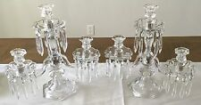 "Vintage Pair 3 Arm Candelabra w/ Crystal Prisms 15"" Tall Candlestick Holders"