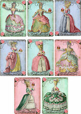Vintage inspired Marie Antoinette let them eat cake ATC tags small note cards 8