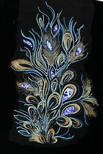 "24"" Blue Sequins Peacock Bird Feather Appliqué Sewing Crafts Trim"