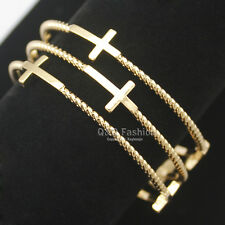 Pack 3 Gold Religious Catholic Cross Crucifix Spiral Church Bracelet Bangle Cuff