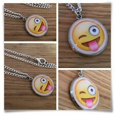 Emoji face Wink smile tongue silly face Charm pendant necklace txt geek
