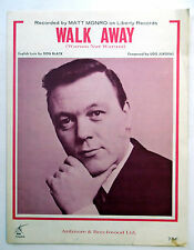 MATT MONRO Sheet Music WALK AWAY Keys Publ. 60's EASY LISTENING Vocal POP