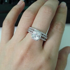 3pcs Princess White CZ 925 Sterling Silver Wedding Band Engagement Ring Set Sz 7
