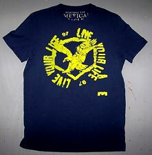 T-SHIRT LIVE YOUR LIFE 97 - AMERICAN EAGLE HERITAGE TEE / BLUE SIZE L