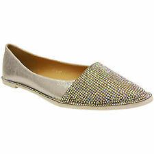 NEW WOMENS LADIES FLAT LOW HEEL POINTED SPARKLY BALLERINA DOLLY SHOES PUMPS SIZE