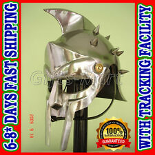 Maximus Gladiator Helmet +Adjustable Leather Liner & Chin Strap Fancy Costume