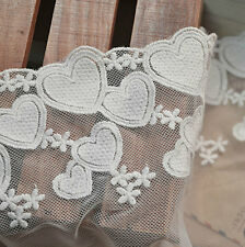White Heart Lace Cotton Trim Embroidery Hollow Out Lace Trim 5.11 Inches 2 Yards