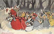 "Black Santa Claus ""Bring Your Stockings!"" Toys Dolls Signed 1905 Postcard"