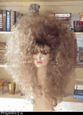 SIN CITY WIGS LONG CURLY FULL VOLUME BLONDE BROWN DARK ROOT TEASED HAIR BANGS