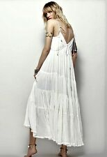 NWT Free People Maxi Dress Endless Summer ivory Babydoll Volumious Tier Swing  M