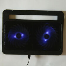 "2 Fan LED Light USB 15"" 17"" Laptop Notebook PC Cooling Stand Cooler Pad Black"