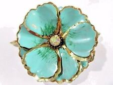 LARGE TURQUOISE BLUE ENAMEL FLOWER PIN BROOCH LAYERED MID CENTURY VINTAGE