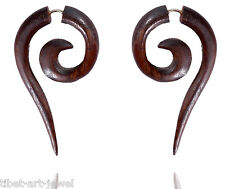 Tibetan Antique Brown Wooden African Tribal Handmade Fake Gauge Earring WER103