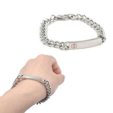 Emergency Alert Stainless Steel Wristband Engraving Medical ID Bracelet Bangle