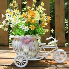 Weiß Blumenkorb Dreirad Fahrrad Bike Kunststoff Rotang für Party Hochzeit Dekor