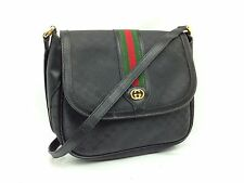 Auth GUCCI GG Pattern Cross body Shoulder Bag Black Canvas 7A310250s