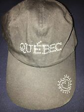 Quebec Bling Black Hat Cap With Bling Hearts on Bill