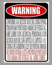 "Texas Open Carry Law business ""prohibited"" sign in Spanish 9""x12"" - FREE SHIP"