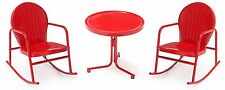 Red 3-Piece Rocker Patio Chat Set Outdoor Seating Furniture Garden Poolside