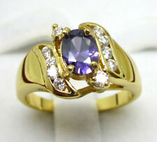 SZ:8 Woman's Fashion Jewelry nice 10KT yellow gold filled amethyst wedding ring