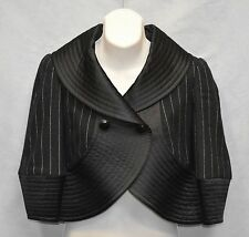 Auth ARMANI COLLEZIONI Black Striped Wool/Angora Cropped Blazer Jacket Size 2