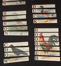 Antique 1880s Alphabet/ABC/Spelling Game Lithograph Children's Toy Cards~Birds