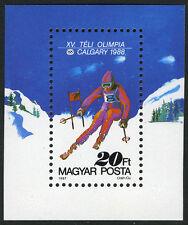 Hungary 3100 S/S, MI Bl.193A, MNH. Winter Olympics, Calgary. Slalom, 1987