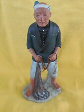 "Vintage Japanese URASAKI HAKATA Fisherman Figurine - Doll (with net) 12"" tall"
