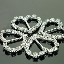 50pcs Heart Rhinestone Crystal Buckles for DIY Ribbon Slider Wedding Invitation
