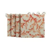 "SET OF 4 Outdoor PATIO SEAT CHAIR CUSHIONS PADS 16"" Square NAUTICAL CORAL REEF"