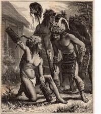 MUNDRUCU MUNDURUKU DECAPITEUR MAIN & FOURMIS TORTURE BRASIL IMAGE 1880 ENGRAVING