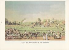 "1974 Vintage Currier & Ives ""COTTON PLANTATION o/t MISSISSIPPI"" COLOR Lithograph"