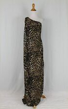 BOSTON PROPER Leo Paw Drape Leopard Print One Shoulder Jumpsuit Dress 4 NWOT