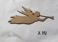 10 Pack of Quality MDF 8cm Christmas tree decorations    ANGEL & HORN    #022