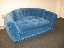 Vintage mid-century glam hollywood sofa love seat. Vivid blue and one-of-a-kind