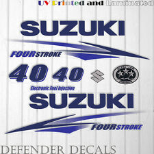 Suzuki 40 hp Four Stroke outboard engine decal sticker set kit reproduction BLUE