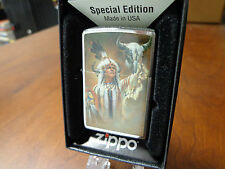 INDIAN WITH BUFFALO SKULL LEGEND OF WHITE BUFFALO ZIPPO LIGHTER MINT RUSS DOCKEN