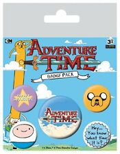ADVENTURE TIME KNOW WHAT TIME IT IS 5 PACK OF BADGES NEW OFFICIAL MERCHANDISE