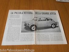 1955 FIAT 600 PRESENTAZIONE NUOVO MODELLO PRODUZIONE ITALIANA AUTO DATI TECNICA