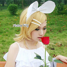 VOCALOID Kagamine RIN Blonde Medium 40CM Anime Cosplay Wig + Wig Cap