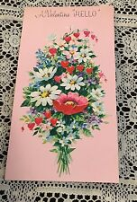 Vintage Greeting Card Valentine Hello Pretty Flowers Pink