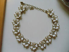 Vintage White Plastic Flower Rhinestone Lucite 50's Choker Necklace
