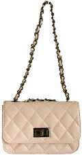 DESIGNER ITALIAN LIGHT PINK REAL GENUINE QUILTED LEATHER SMALL CHAIN HANDBAG BNT