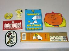 Vintage Peanuts Lot Snoopy Patch Magnet Crayons Pencils Pin, Charlie Brown Purse