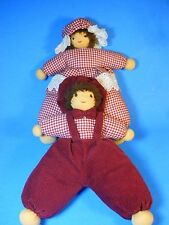 "Pair of handmade stuffed 12"" Dolls Boy and Girl, red corduroy, handstitched face"