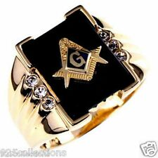 Free Mason Masonic Semi-Precious Black Onyx Stone Gold Plated Men Ring Size 11