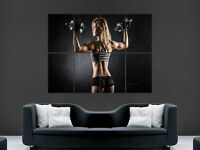 HOT SEXY GIRL GYM FITNESS DUMBELLS GIANT WALL POSTER  PICTURE PRINT LARGE HUGE