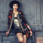 Fashion Womens Slim Outwear Floral Parka Trench Coat Jacket Black Black Friday